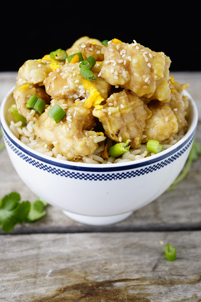 Healthy Version of Chinese Orange Chicken - Baked Rather Than Deep Fried
