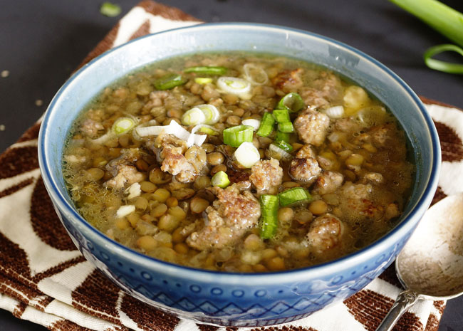 Slow Cooked High Protein Lentil Soup with Bratwurst Sausage