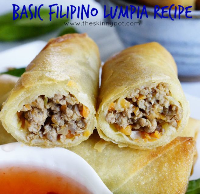 Basic Filipino Lumpia Recipe-There are so many ways in cooking and making lumpia, but I will share with you a lumpia recipe which is pretty much a base recipe for your lumpia. You can customize this recipe according to your liking. You can add, shrimp, add shredded cabbage, spinach and bean sprouts ( my most favorite) or change the meat into ground turkey or ground pork