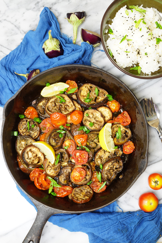 One Pot Roasted Eggplant with Cherry Tomatoes