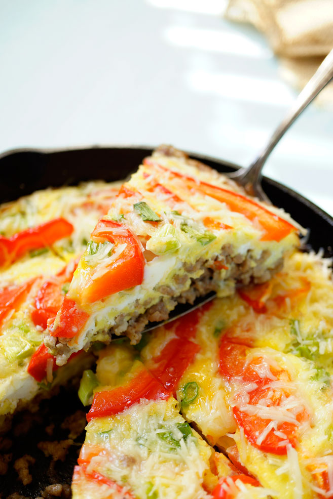 Oven Baked Ground Turkey and Egg Omelet has zero carbs, high in protein, load of veggies