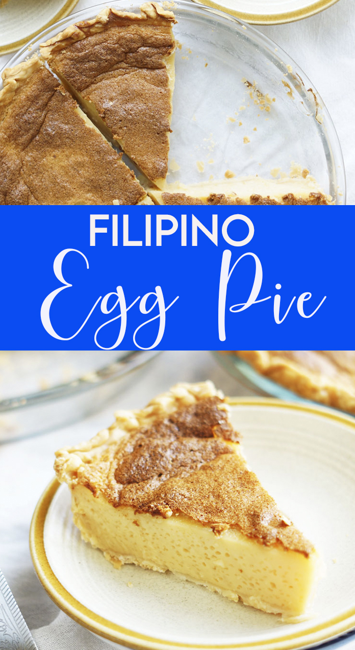 """Egg pie is a favorite Filipino dessert which are often sold in Filipino bakery. Egg Pie is a Filipino counterpart of Egg Custard, although I find some differences in its sweetness and texture. To me, Filipino Egg Pie is sweeter, firmer, it is also """"eggy"""" in taste and the texture is more defined compared to the one I tried here in the US. Also, there is no cream nor any nutmeg added in this Egg pie."""