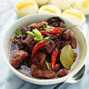 This Dinuguan Recipe Kapampangan Style is an easy Pork Blood Stew version of Dinuguan Filipino Recipe from Pampanga, Philippines. Easy and Dive into an food adventure with this soup with blood in it/ www.theskinnypot.com