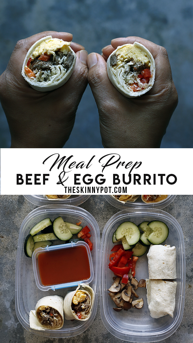 MEAL PREP: BEEF AND EGG BURRITO/www.theskinnypot.com