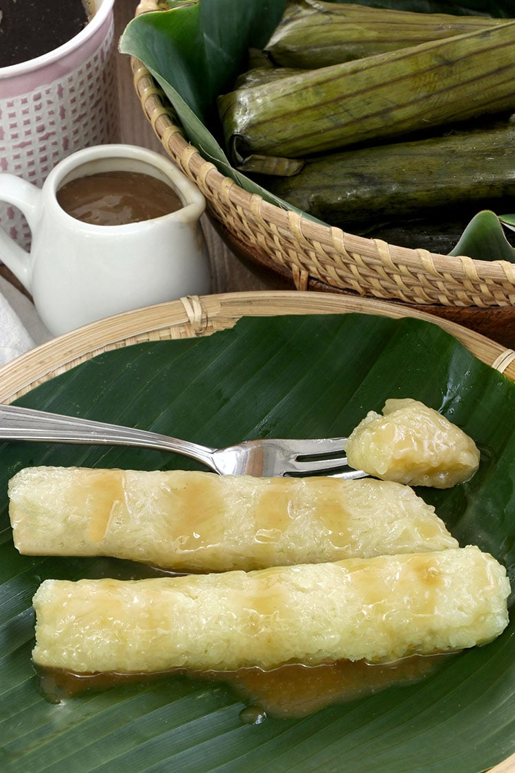 Suman Drizzled in Caramel Sauce or Latik