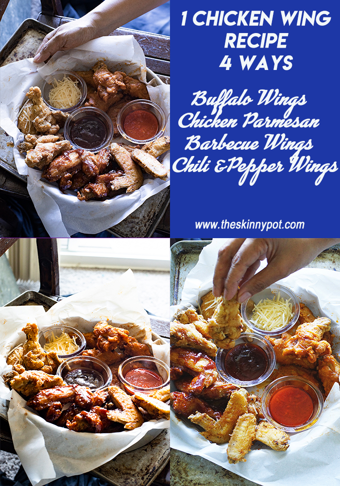 July 4 th Potluck is solved! Cook chicken wings in 4 ways to save time while being able to enjoy all the different flavor you love like this Buffalo Chicken wings, Barbecue chicken Chicken Parmesan and Vinegar with Pepper and Chili./www.theskinnypot.com