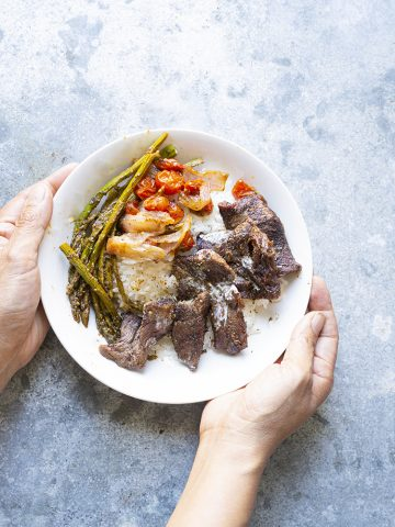 SHEET PAN STEAK WITH ROASTED TOMATO AND ASPARAGUS. Easy prep, simple ingredients,easy clean up type of meal. Welcome to another sheet pan meal.
