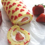 Valentine Strawberry Swiss Roll with Cream Cheese Frosting- Learn how to make delicious swiss roll and impress your friends and love ones / the skinny pot