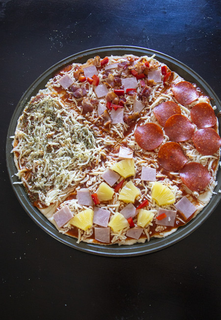 One Pizza Dough 4 Pizza Toppings. Be creative in your pizza and add extra topping on top, using the 2 Ingredient pizza dough from Weight Watchers.