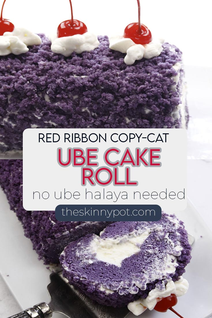 Ube Roll Cake with cream cheese frosting. Moist, tasty and earthy cake roll recipe with a step by step instruction video to guide you. Frosted with homemade cream cheese frosting, this cake is worth a try.