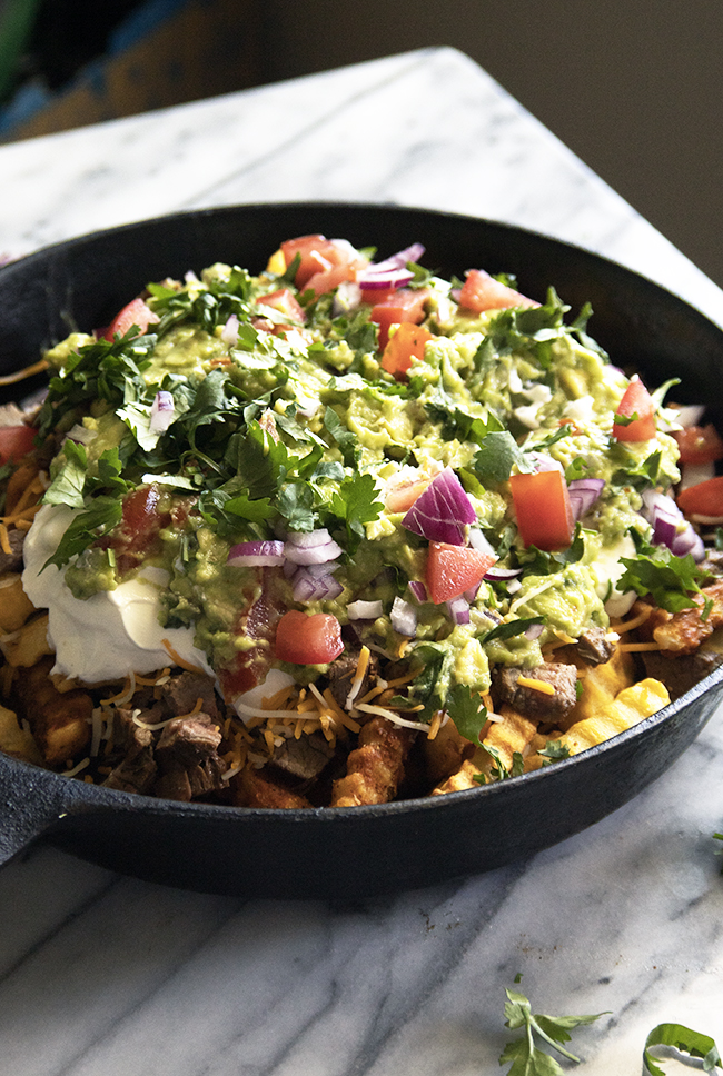 Carne Asada Fries have carbs, protein, and fiber in one delicious dish! It has lots of textures, too, contributing to an overall appealing appetizer!