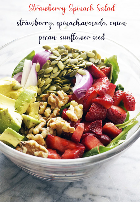 Strawberry Spinach Salad is a feast for the tummy and for the eyes! This appetizing summer salad is so refreshing and easy to prepare!