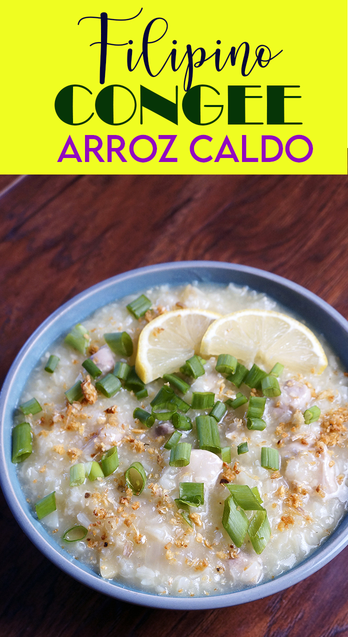 Arroz Caldo is a creamy rice porridge Filipino style. It's spiced up with lot of ginger and garlic. Also known as a catharsis for flu or to warm for the rainy season.