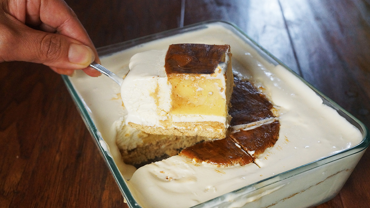This Graham De Leche is a combination of my 2 Filipino Desserts- Graham Float and Leche Flan. It is a creamy and a sweet combination of both desserts to wow the crowd..
