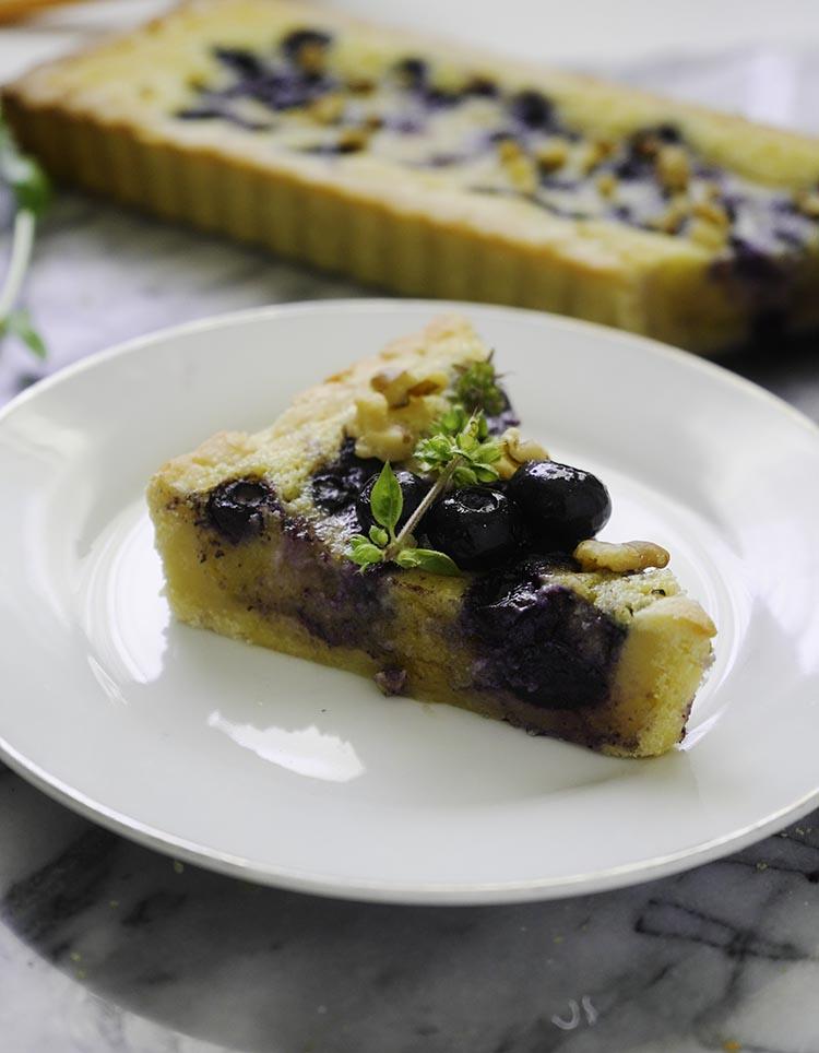 Frozen Blueberry Tart Recipe with Almond Cream