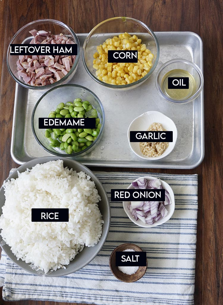 Leftover Ham and Rice Ingredients