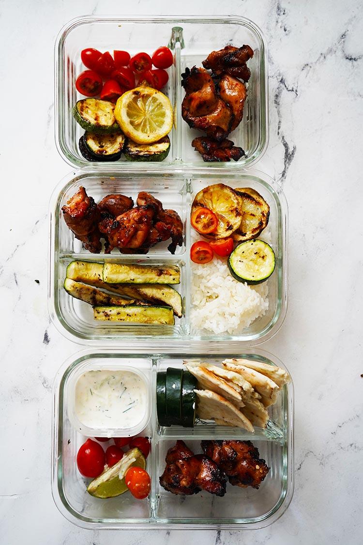 Homemade Chicken Gyros with Tzatziki Sauce Meal Prep