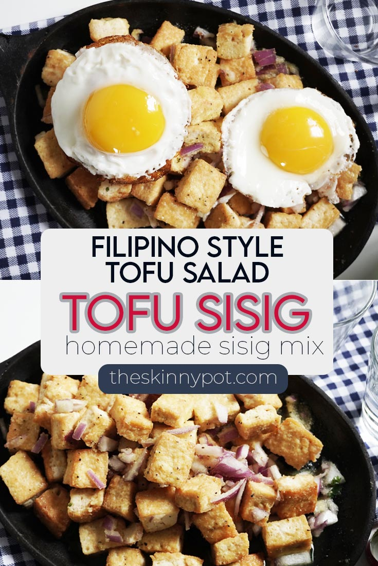 TOFU SALAD with a Filipino twist. The tofu dressing is homemade Mama Sita's copycat Sisig mixture. Completely vegan, hi- protein and healthy.