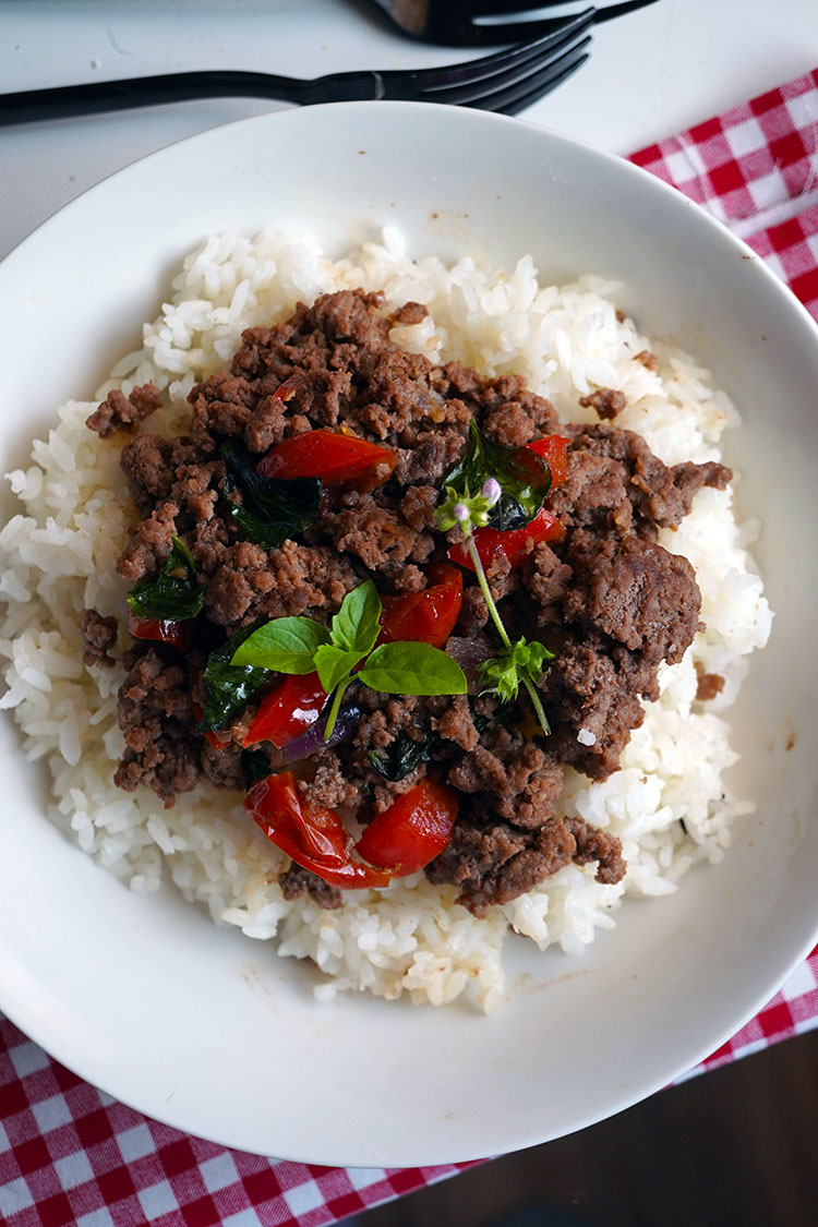 Quick meal to use Thai Basil which is in abundance right now. A delicious meal the family will love.