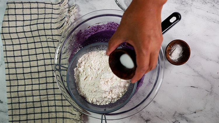Sift in the flour,baking powder and salt