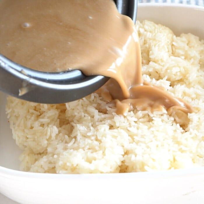 add latik to the rice